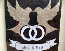 Gay Marriage Wedding Gift, Framed Slate Tile with Doves and Banner