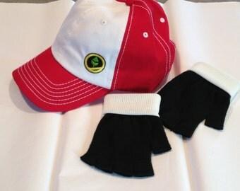POKEMON  Trainer RED Adventures Version - Embroidered Hat & Glove Set  - Cosplay