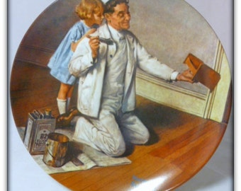 """Vintage Norman Rockwell """"The Painter """"1983 Collector Plate"""