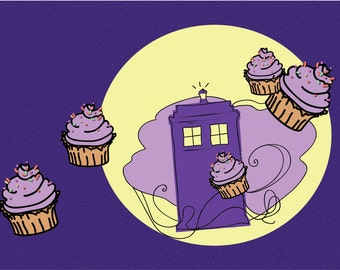 """Doctor Who birthday postcards """"flying cupcake""""! dr who birthday card"""