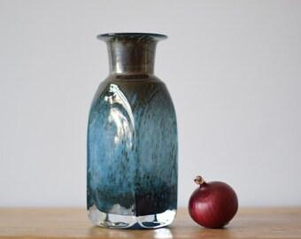 vintage Boda - Bertil Vallien - blue bottle vase - engraved - Art Glass vase - midcentury