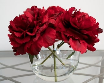 Classy Red Peonies in Round Glass Vase with Faux Water, Valentine's Day