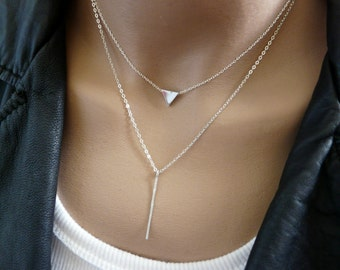 Layering necklace, Triangle necklace, Bar necklace, Sterling silver necklace, Geometric necklace, Modern necklace, Geometric jewelry