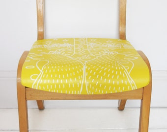 Vintage, Retro, Up-cycled Wooden, Child's School Chair - Animals, Bears, Giraffe, Zoo Fest - Yellow