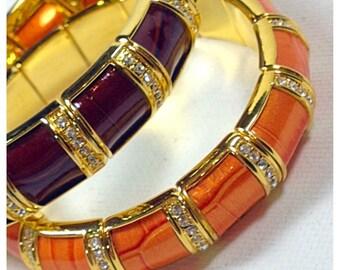 ONE Vintage Classic Joan Rivers Enameled Stretch Bangle Bracelets, Designer Bracelet by Joan Rivers