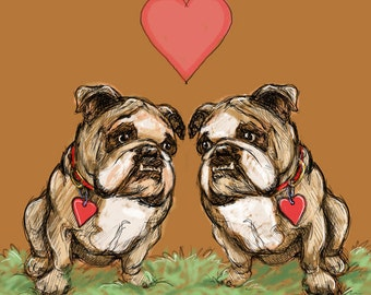 Two Bulldogs - Artwork of a Two Bulldogs Sitting Under a Heart
