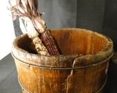 Beautiful Antique Wood Bucket