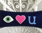 I Love You (Eye Heart U!) Pillow in Navy Blue Wool Felt with Blue/Brown/Green Eye applique, Perfect Mother's Day Gift or College Dorm Pillow
