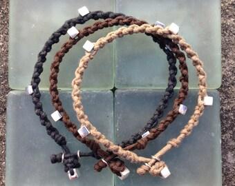 Bracelet Colo 05 Sterling Silver .925 Cotton Cord Handmade (B105SS-C)