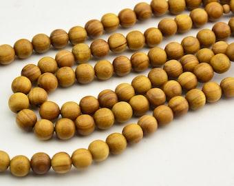 108pc  Natural   Fragrant  Australia  Yellow  Sandalwood  Mala Bead , Aromatic  Sandalwood  Mala