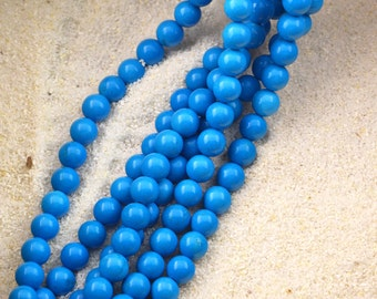 """16""""  8mm  Blue  Turquoise  Round   Bead"""