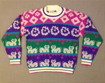 1980's, cat, heart and flower sweater, Women size Small/XS