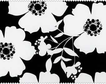 Black/ White Big Floral by Camelot Fabrics Cotton Fabric Yardage