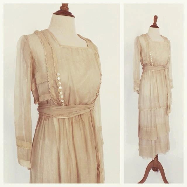 Vintage 1900's Edwardian Dress Antique 1910 Wedding Gown