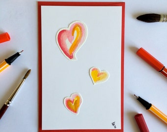 Valentine's Day romantic handmade love card - Watercolor hearts - Love letters and love words - Love Hearts Red Pink Yellow White Gold