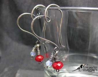 Heart Shaped Hoops - Sterling Silver-filled wire, Czech Glass earrings