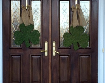 NEW for 2015, SET of Two Moss Shamrocks, St Patricks Day Door Decor, Shamrocks