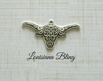 Longhorn Steer Charm Pendant Beautiful Embossed Designs, steer charms, silver longhorn  25x50mm 8 pieces  Antique Silver Finish 11-18-S