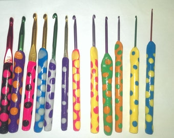 Set of 12 crochet hooks with Polymer Clay handles.