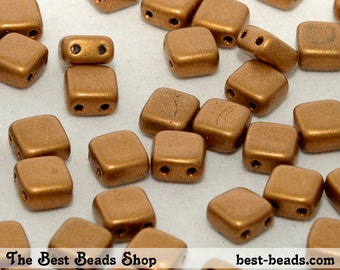 40pcs Copper Double Hole Squares Pressed Beads 6mm