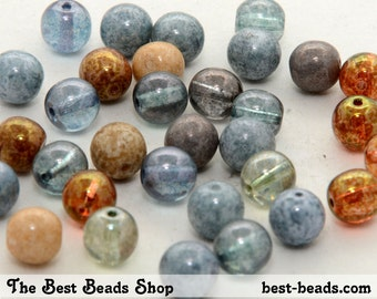 50pcs Mix Color Lustered Round Czech Glass Pressed Beads 8mm