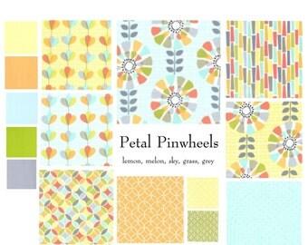Custom baby bedding, neutral baby bedding featuring petal pinwheels