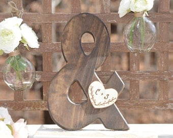wood ampersand sign, rustic wedding photo prop, wooden and sign, rustic home decor, shabby chic wedding & symbol, wedding shower gift