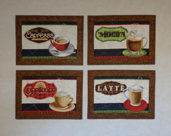 """Coffee Place Mats, Place Mats, Set of Four, Quilted Place Mats, Coffee Place Mat Set, Coffee Lovers, Home Decor, """"Coffee Moment"""""""