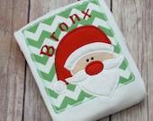 Personalized Christmas Santa Boy Shirt - Boy or Girls First Christmas Santa Monogrammed Shirt