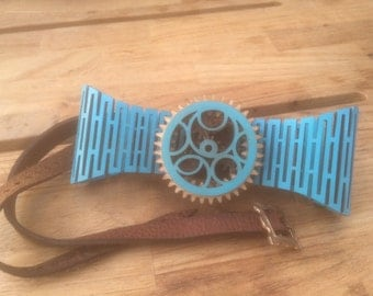 Teal Wooden Bow Tie with moving gears