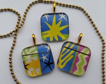 Matisse Cut-outs - Nuit de Noel - glass pendants and chain