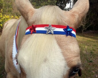 Stars and Stripes Browband for Patriotic Horse, Pony, Mini - Red White Blue Horse Browband - Equine Tack