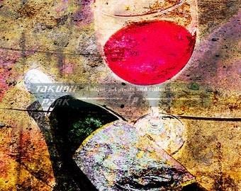 Wine Glass And Bottle Art Print, Wine Decor, Gift For Wine Lovers, Bar Decor, Modern Art, Wine Art Decor, Colorful Art, Dining Room Decor