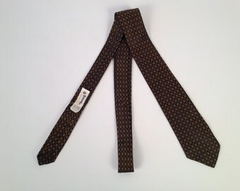 Vintage 60s Brown and Gold Silk Tie by Botany