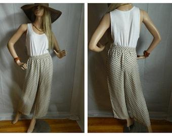 Vintage Polka Wide leg Palazzo cropped elastic waist pants size small
