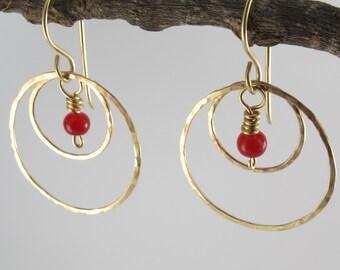 Gold Bead Hoop Earrings - Dangle Hoop Earrings  - Hammered Gold Jewelry - Gold Filled Earrings - Red Bead Hoops