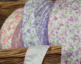 five yards of berry calico wired ribbon