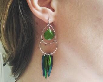 Beetle wings earrings