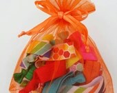 Second quality hair tie grab bag, Sale hair ties, 15 pieces, knotted foldover elastic, random colors patterns, FOE ponytail holders