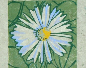 Daisy linocut print