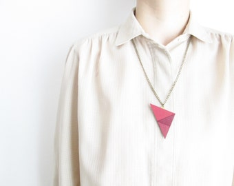 Pink Geometric Leather Necklace Summer necklace Statement necklace Leather bib necklace Recycled leather necklace