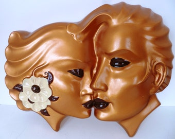 Vintage Lovers Kitsch Plaque Plaster Wall Art Mid Century Retro