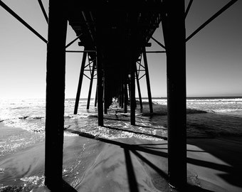 black and white - fine art photograph - oceanside pier - sandy beach - tide watching - ocean photography - nature photography - wooden pier