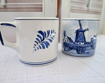 A Pair of Beautiful Delft Handpainted Made in Holland Porcelain Cups or Mugs