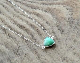 Birthstone Necklace- Green Chrysoprase Necklace- Single Gemstone Necklace- Layering Necklace- Minimalist Necklace