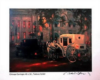"8x10 ~ Signed ""Chicago Carriages"" Print ~ by: Tadeusz Seidel"