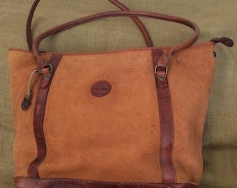 Vintage large Timberland leather shopping tote bag travel bag