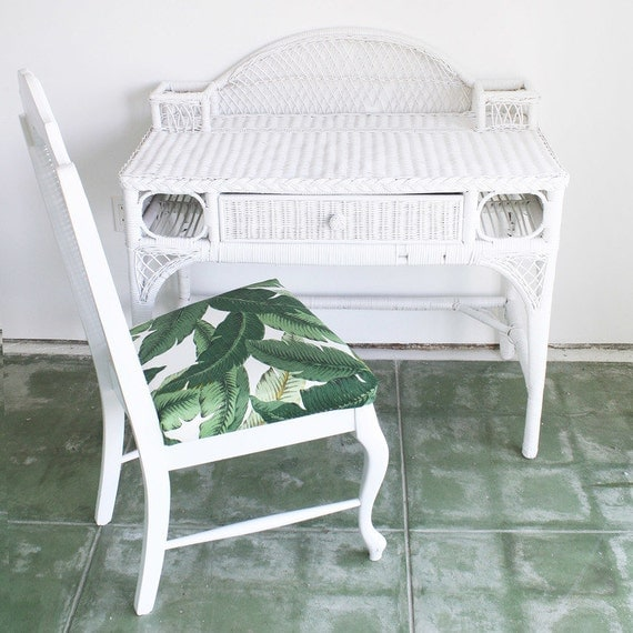 WICKER DESK VANITY White Rattan Desk Or Vanity By