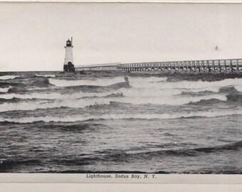 "Lighthouse, Sodus Bay,NY 8x10"" B&W Enlargement from 1920s Souenir Post Card"