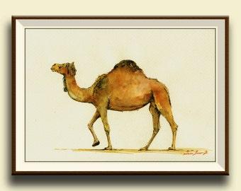 PRINT-Camel  dromedary - desert decoration safari nursery print - desert animal egypt africa camel - Art Print by Juan Bosco